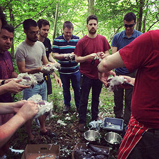 Stag and hen groups have a lot of fun preparing meat and food together.